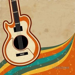 Colorful musical notes wave background with guitar.