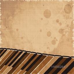 Piano keyboard on retro grungy beige background.