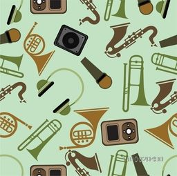 Musical instrument in different color on light green background.