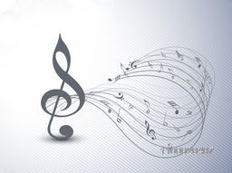 Treble clef and musical notes wave on seamless background.