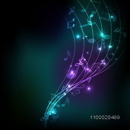 Musical wave background with shiny musical notes over stylish background.
