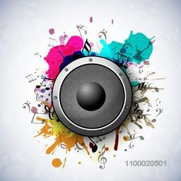 Speaker on grungy art and musical notes on stylish background.