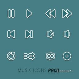 Musical icon set in white underline on sea green background.