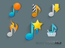 Musical icon on steel blue color background.