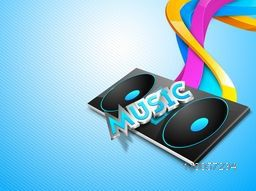 Sound speaker with stylish text of Music and colorful waves on stylish seamless blue background.
