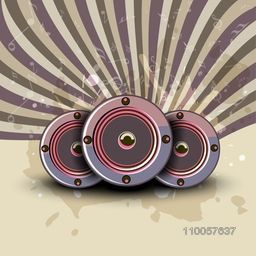 Sound speakers with musical notes and rays on retro background.