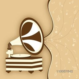 Retro gramophone with musical notes on stylish beige background.