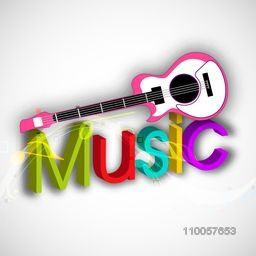 Stylish colorful text of Music with a guitar on light grey background.