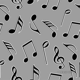Musical notes in black and white color on grey background.
