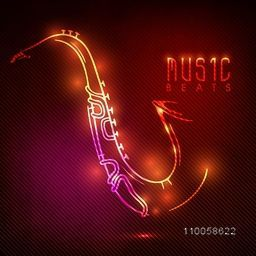 Musical instrument saxophone made by colorful shiny neon light for Music concept.