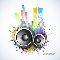Colorful musical background with speaker.