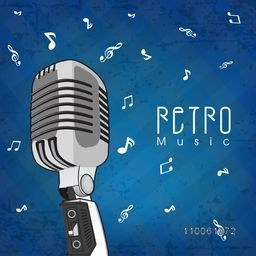 Stylish microphone with text Retro Music on grungy blue background.