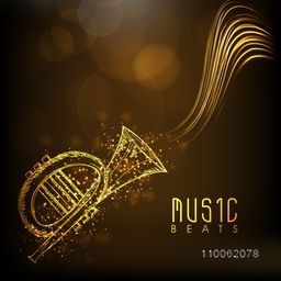 Shiny golden trumpet with stylish text Music Beats on brown background.
