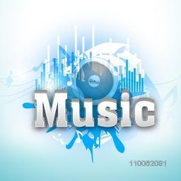 3D text Music on abstract blue background, can be used as poster, banner or flyer design.