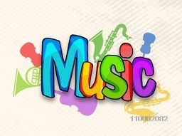 Poster, banner or flyer design decorated with colorful text Music and musical instrument.