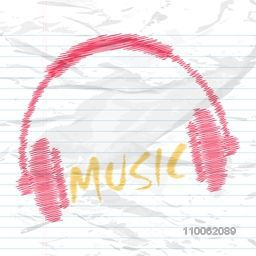 Creative headphone with text Music on notebook paper background.