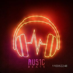 Stylish neon headphone with text Music Beats on shiny background.
