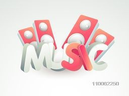 3D text Music with stylish speakers, can be used as poster, banner or flyer design.