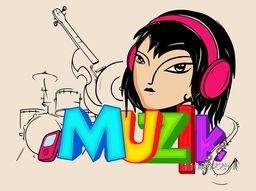 Young girl in headphones with line art of musical instruments set and colorful text Muzik for Music concept.