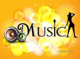 Stylish text Music with speakers and silhouette of a young girl on shiny background.