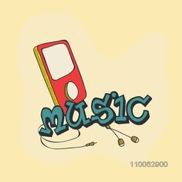 Colorful mp3 player with earphone for music concept.