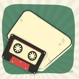 Cassette with musical notes and space for your message on vintage rays background.