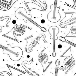Different musical instrument with seamless pattern.