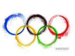 Five Olympic Rings with watercolor splash, Creative Sports Background for Brazil Summer Games concept.
