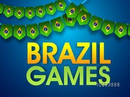 Glossy Text Brazil Games on Brazilian Flag style buntings decorated background, Creative Poster, Banner or Flyer for Summer Olympics concept.