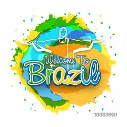 Stylish Text Welcome to Brazil with illustration of Christ the Redeemer on colorful background, Can be used as Poster, Banner, Flyer or Invitation Card design.
