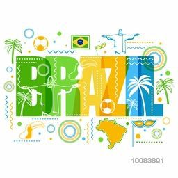 Stylish Text Brazil with hand drawn line art illustration of Brazilian cultural symbols, Can be used as Poster, Banner or Flyer design.