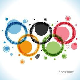 Creative Five Colorful Rings on shiny background, Brazil Summer Olympic Games concept, Can be used as Poster, Banner or Flyer design.