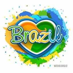 Brazilian Flag Colors Text Brazil on creative heart decorated abstract colorful background, Can be used as Poster, Banner or Flyer design.