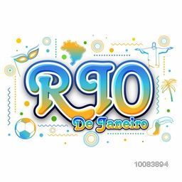 Stylish Text Rio de Janeiro with hand drawn line art illustration of Brazilian native and cultural symbols, Can be used as Poster, Banner or Flyer design.