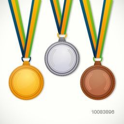 Glossy Gold, Silver and Bronze Medals with Ribbon on white background, Concept for Brazil Summer Olympic Games.