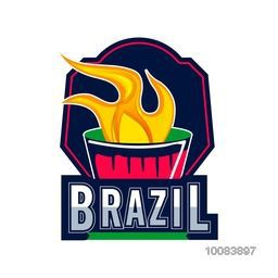 Creative Badge design with burning torch for Brazil Summer Olympic Games.