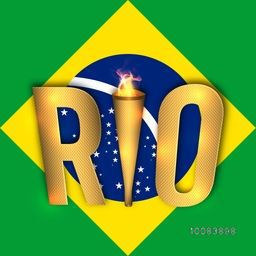 Golden Text Rio with Burning Torch on glossy Brazilian Flag design background, Elegant Poster, Banner or Flyer for Summer Olympic Games concept.