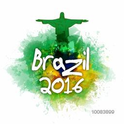 Stylish Text Brazil 2016 with illustration of Christ the Redeemer on abstract colorful background, Can be used as Poster, Banner, Flyer or Invitation Card design.