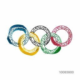 Creative Five Colorful Rings on white background, Brazil Summer Olympic Games concept, Can be used as Poster, Banner or Flyer design.