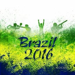 Stylish Text Brazil 2016 with silhouette of different sports players on Brazilian Flag color abstract background, Poster or Banner for Summer Olympic Games concept.
