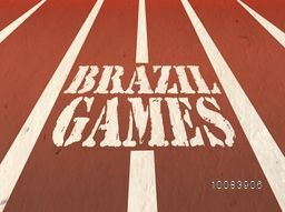 Stylish Text Brazil Games written on running track, Sports Poster, Banner or Flyer design for Summer Olympics Concept.
