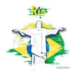 Illustration of Christ the Redeemer on Brazilian Flag colors background, Poster, Banner Flyer for Rio Summer Olympic Games.