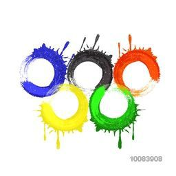 Creative Five Colorful Rings (Symbol of Unity) on white background, Vector illustration for Brazil Summer Olympic Games concet.