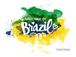 Stylish Text Welcome to Brazil on Brazilian Flag colors abstract watercolor background, Can be used as Poster, Banner or Flyer design.