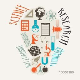 Set of different science elements or symbols in creative light bulb shape on grey background.