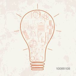 Illustration of a creative light bulb with different science related elements on grungy background.
