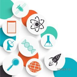 Set of shiny signs and symbols for Science on colorful abstract background, can be used as sticker, tag or label design.