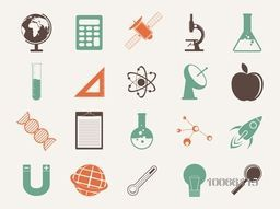 Illustration of creative signs and symbols of Science on grey background.