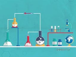 Illustration of chemical beaker and flask for science laboratory and chemistry research on blue molecules background.
