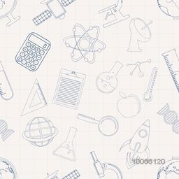 Creative science pattern with various signs and symbols on grey background.